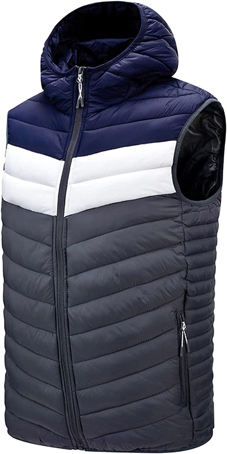 XXBR Down Puffer Vests for Mens, Fall Winter Men's Fashion Zipper Hooded Color Block Patchwork Warm Sleeveless Vest Coat