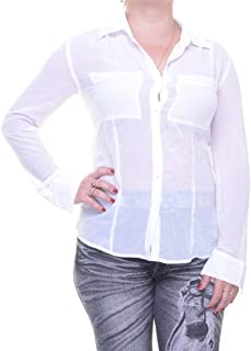 GUESS Long-Sleeve Point-Collar Cropped Blouse, True White, Large