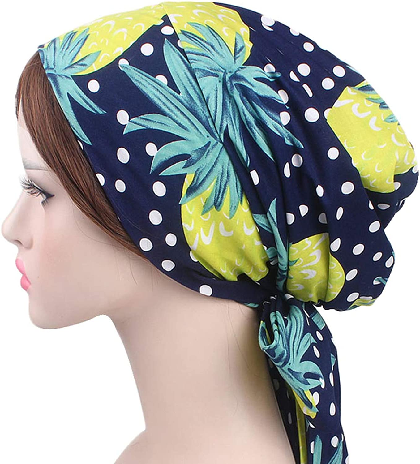 DancMolly Multipurpose Headwear Cotton Head Scarf Bowknot Chemo Caps for Cancer Hair Lose
