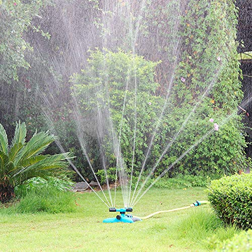 Blisstime Lawn Sprinkler, Automatic 360 Rotating Adjustable Garden Water Sprinklers Lawn Irrigation System Covering Large Area with Leak Free Design...