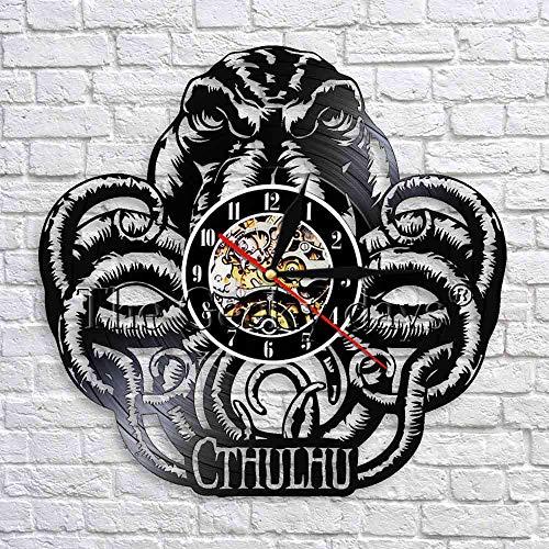 UIOLK Wanduhr Meerestier Oktopus Vinylplatte Wanduhr Wanduhr Design Horror Dekoration Filmkunst