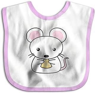 UBCATDESA Cute Mouse Baby Bibs, Unisex Baby Soft Cotton Easily Clean Teething Bibs(Blue&Pink)