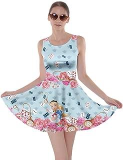 Womens Alice Wonderland Princess Drawfs Mermaid Day of The Dead Sugar Skull Skater Dress, XS-5XL
