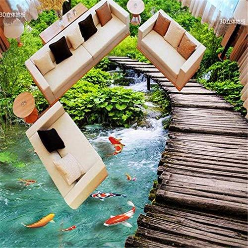 Pegatina de pared para suelo 3D Pegatinas impermeables para suelo 3D personalizadas Pegatinas para baldosas de suelo 3D Nueve peces y puente de madera Personalizar cualquier tamaño Flooring-350 * 24