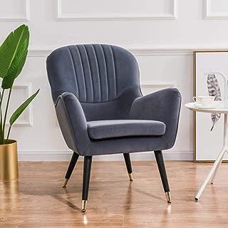 YUJINMAOYI 2019 Presidente New Nordic Moderno sofá de Cuero recreacionales Retro Arte pequeño sofá Americana Simple recreativo Estudio Sofá Silla,Gris Oscuro,Un Asiento