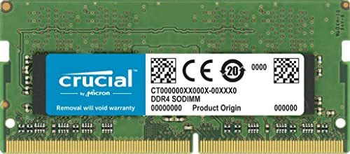 Crucial CT32G4SFD8266 32GB (1x32GB) DDR4 SODIMM 2666MHz CL19 1.2V PC4-21300 Dual Ranked Single Stick Notebook Laptop ...