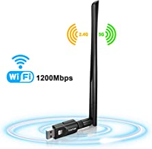 USB WiFi Adapter 1200Mbps, USB 3.0 Wireless Network WiFi Dongle with 5dBi Antenna for Desktop Laptop PC Mac,Dual Band 2.4G/5G 802.11ac,Support Windows 10/8/8.1/7/Vista/XP,MacOS 10.5-10.14