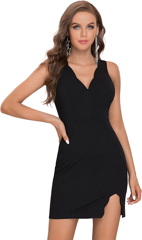 Ever-Pretty Women's V Neck Side Split Bodycon Mini Cocktail Date Dress 40005