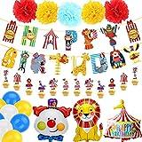 BETOY Carnevale Circo Decorazione Festa di Compleanno, Buon Compleanno Decorazioni Ragazzo Ragazza con Striscioni di Happy Birthday Decorazioni,Elefante Clown Palloncino per Circo Parco divertimenti