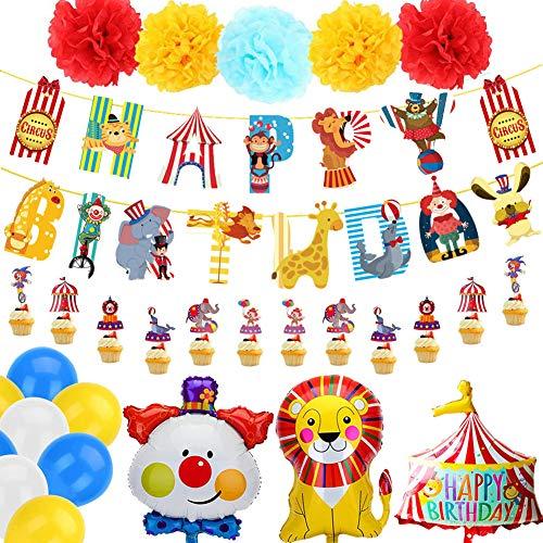 BETOY Karneval, Zirkus, Dekoration für Geburtstag, Geburtstag, Dekoration für Jungen und Mädchen, mit Banner von Happy Birthday Dekoration, Elefanten-Clown, Ballon für Zirkus und Freizeitpark
