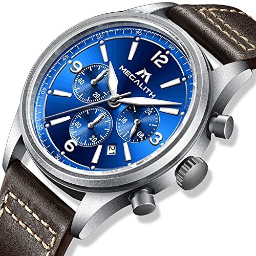 MEGALITH Reloj para Hombre Resistente al Agua 44 mm Azul Relojes Cronógrafo con Correa de Cuero para Hombre Reloj de Cuarzo de Diseño Clásico Deportivo Militar Relojes de Pulsera Luminosos Moda Fecha