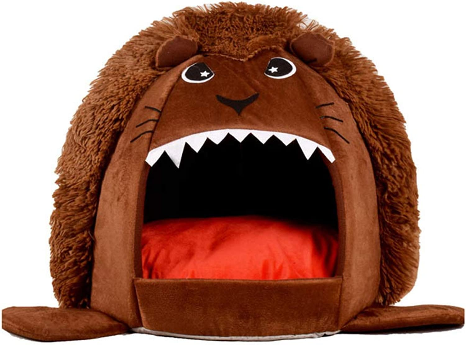 Folding Pet Dog House Bed Lion Shape with Thicken Cushion Kennel for Autumn Winter,Brown,M