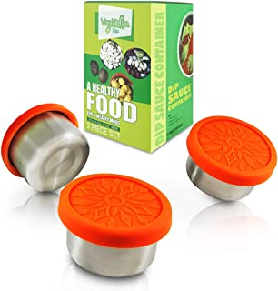 Vivykitchen Dipping Sauce Containers Set – 3 x 3.3oz Stainless Steel Snack Containers with Food-grade Silicone Lids – Leak-proof and Reusable – Also Suitable for Baby, Toddler, Kid food