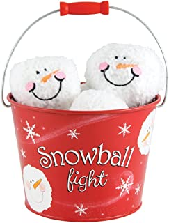 Snowball Fight! 6 Plush Snowmen Balls and a Red Tin Labeled