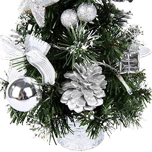 40CM Mini Arbre Sapin Artificiel de Noêl avec lumières LED and Ornament,petit sapin de noël décoré pour la Décoration de Fête à domicile et Affichage de L'artisanat