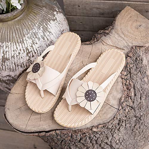 JIEIIFAFH Piel de Verano Sandalias de imitación de tirón Flor Flop Correa de Las Mujeres Sandalias de Las Mujeres de Pelo for Las Mujeres de Moda Zapatos de la Playa de Vacaciones