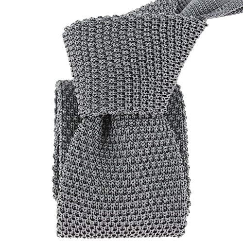 Tony & Paul - Cravate Tricot Gris Anthracite, Soie