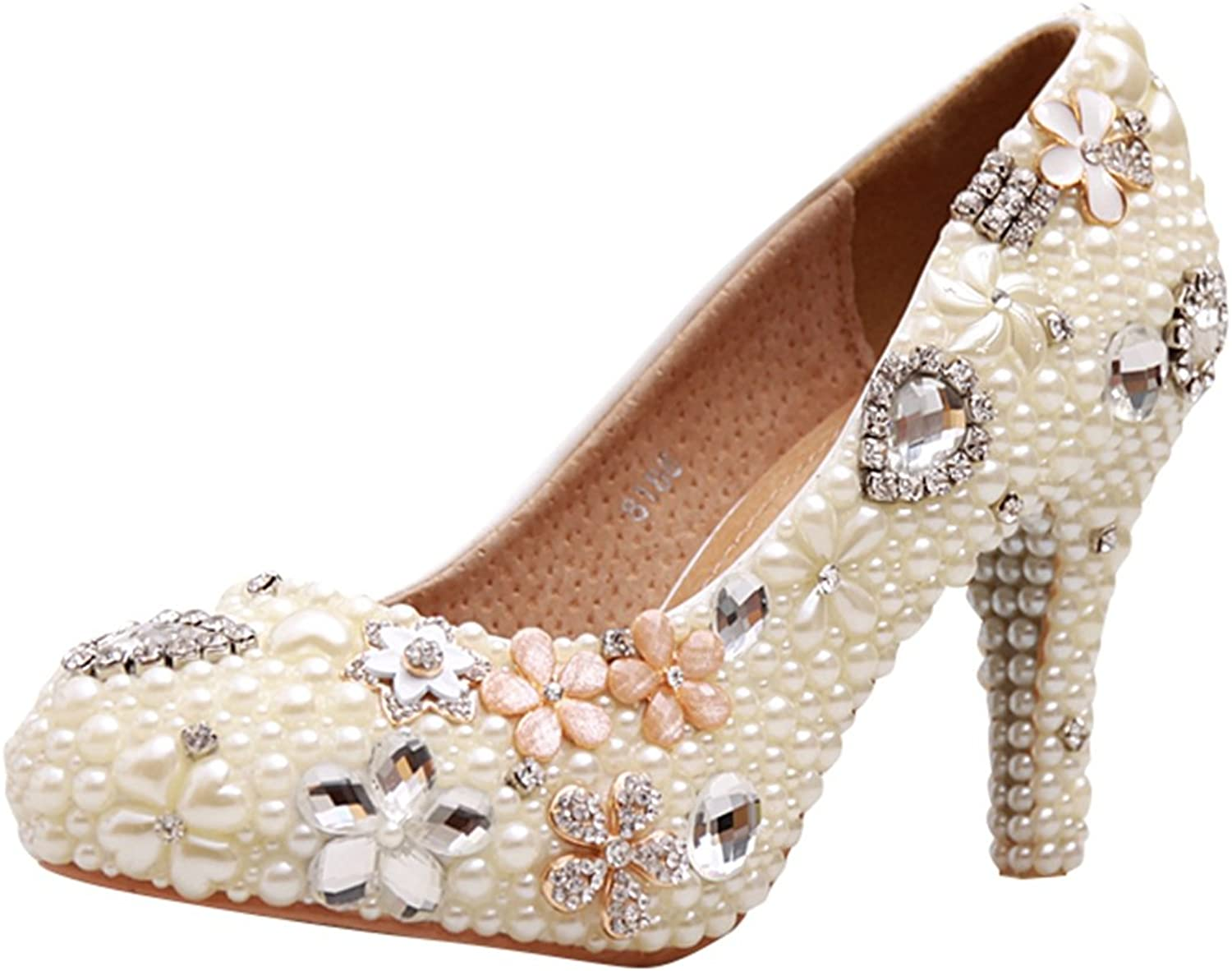 Minitoo MZLL025 Women's Fashion Beaded Handmade Satin Wedding Party Evening Prom Pumps shoes