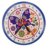 Purple Butterfly DIY Clock Diamond Painting Kits, Wall Decor with Colorful Diamonds,Kids Arts and Crafts Kit Includes Clock Mechanism,Gifts for Girls Boys and Adults FANKEE