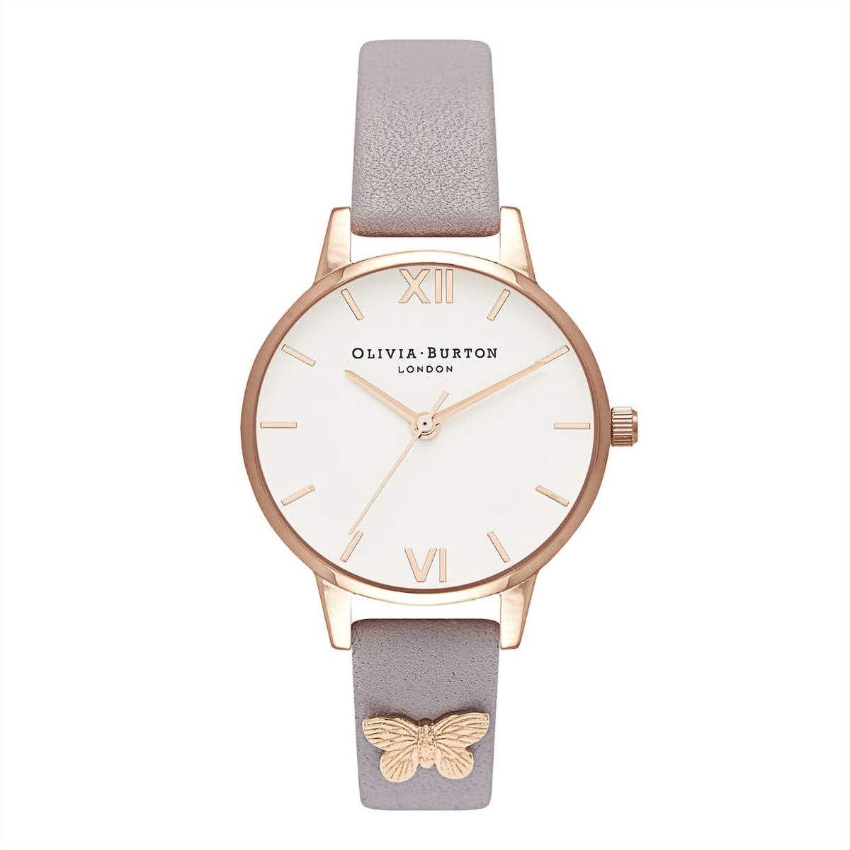 Olivia Burton Reloj mariposa gris lila y oro rosa ~ OB16MDW39