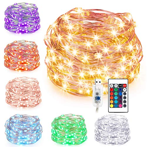 LED String Lights,USB Powered Multi Color Changing String Lights with Remote,100leds Indoor Decorative Silver Wire Lights for Bedroom,Patio,Outdoor Garden,Stroller,DecorTree.(33 ft 16 Colors)