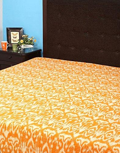 Rajrang BST02328 Ikat Prt mit Kantha Orange Baumwolle Tagesdecke