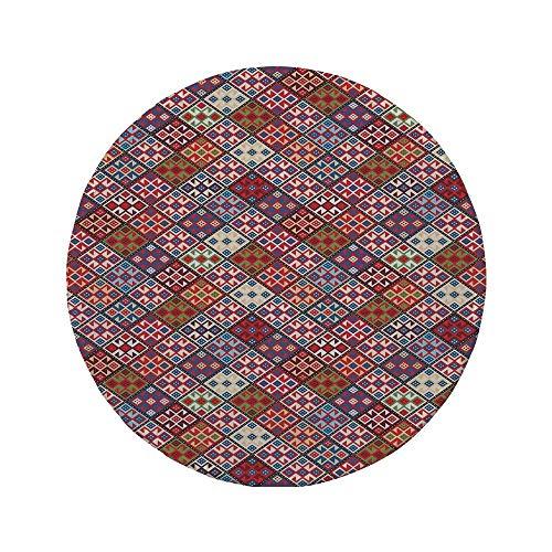Rutschfreies Gummi-rundes Mauspad indianisches Dekor ethnischer Nomadenteppich mit nahtlosem Muster 7,87 'x 7,87' x 3 mm