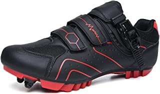 OneChange Cycling Shoes Mens, Women Outdoor Sports Road Bike Shoes Triple Velcro Strip Breathable MTB Bike Shoes for Road Mountain Bikes (Color : Black Red, Size : 13 UK)