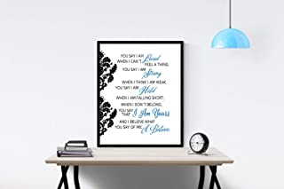 You Say by Lauren Daigle Song (Blue) | I am Loved I am Strong I am Held I Believe What You Say | Lyrics Wall Art Print | Faith (11x14)