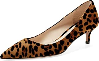 Women Low Kitten Heel Pumps Pointed Toe Dress Shoes for Office Lady Soft Suede