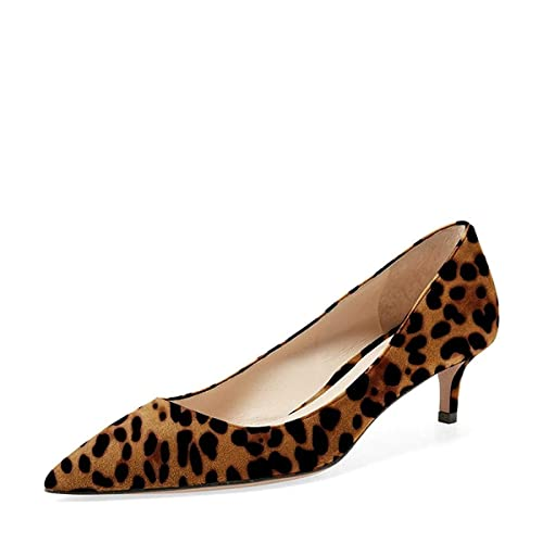c366a2eceb5 YDN Women Low Kitten Heel Pumps Pointed Toe Dress Shoes for Office Lady  Soft Suede