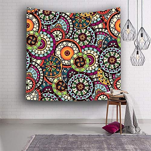 N / A Mandala Indio Colorido patrón de Flores Tapiz Colgante de Pared Toalla de Playa Bohemia Manta de algodón de Fibra de poliéster Tapiz de Yoga Tela de Fondo Tela Decorativa A1 130x150cm