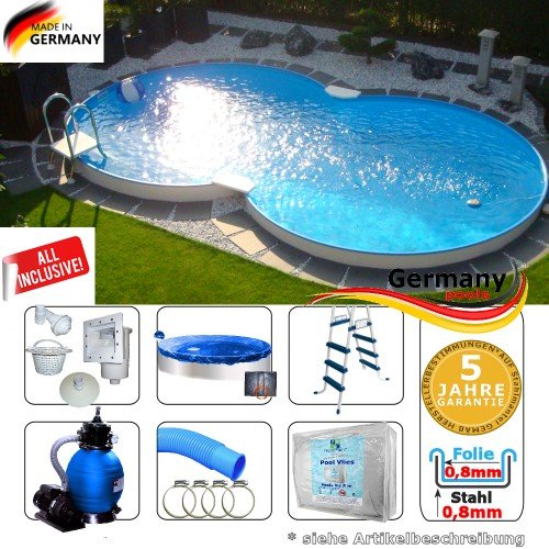 Achtformpool 5,25 x 3,20 x 1,35 Set Schwimmbecken Achtformbecken 5,25 x 3,2 x 1,35 Swimmingpool Stahlwandpool Aufstellbecken achtform Pool Einbau Pools Sets Stahlwandbecken Komplettset