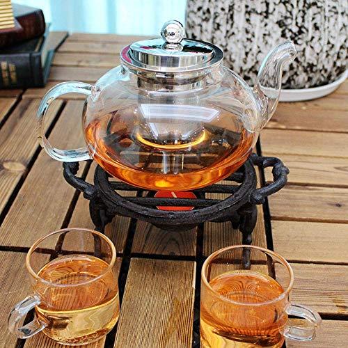 Sungmor Heavy Duty Gietijzeren Tealight Wax Warmer voor Melkthee Koffie - Ronde vorm Theepot Stabiele Houder voor Tealight Stand - Decoratieve Fornuis voor Villa Yard Balkon
