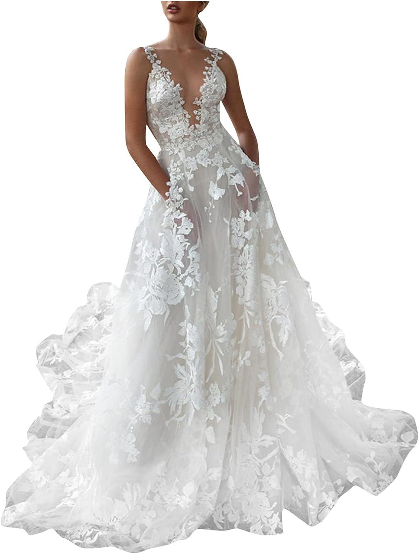Hemlock Women Floral Lace Dress Sexy V Neck Slip Bridal Wedding Dress Elegant Evening Party Dress
