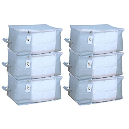 Kuber Industries™ Underbed Storage Bag, Storage Organiser,Blanket Cover Set of 6 Pcs -Grey (Extra Large Size with Handle) Code-UDB07