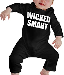 Baby Boy Girl Graphic Wicked Smaht Winter Onesie Long Sleeve Romper Bodysuit Funny Black Jumpsuit Outfit