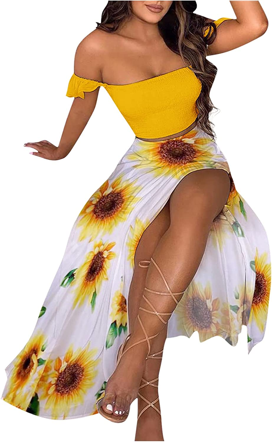 NMSL Women's Sexy Summer 2 Piece Maxi Chiffon Dress Crop Top Skirt Set Beachwear Cover Up Off Shoulder Boho Outfits Solid Color Side Slit Skirt Dress for Vacation Birthday Party Yellow A04 L