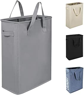 Chrislley 45L Slim Laundry Hamper Small Laundry Basket Narrow Thin Laundry Hamper Dirty Clothes Hamper with Handles Collapsible Hampers for Laundry(Slim 21 Inches, Grey)