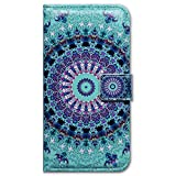 iPhone 6S Case,iPhone 6 Case, Bfun Packing Bcov Green Mandala Design Card Slot Wallet Leather Cover Case for iPhone 6 6S