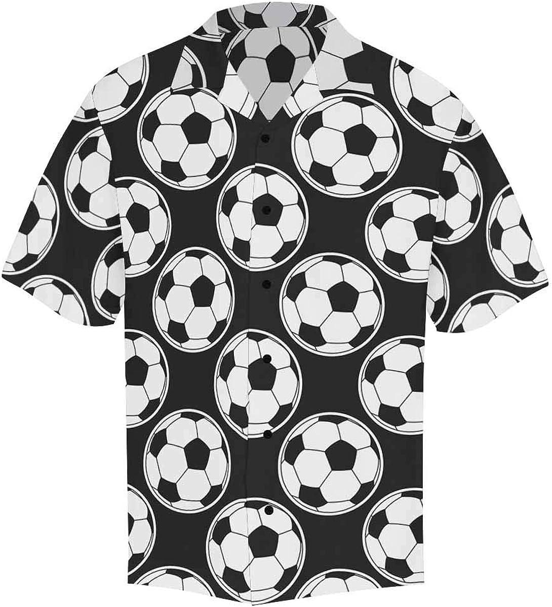 InterestPrint Men's Casual Button Down Short Sleeve Colorful Sport Ball Hawaiian Shirt (S-5XL)