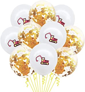 Kubert Construction Themed Balloons, 12 Inch Cute Yellow Excavator Latex Balloons Construction Zone Glitter Gold Confetti ...
