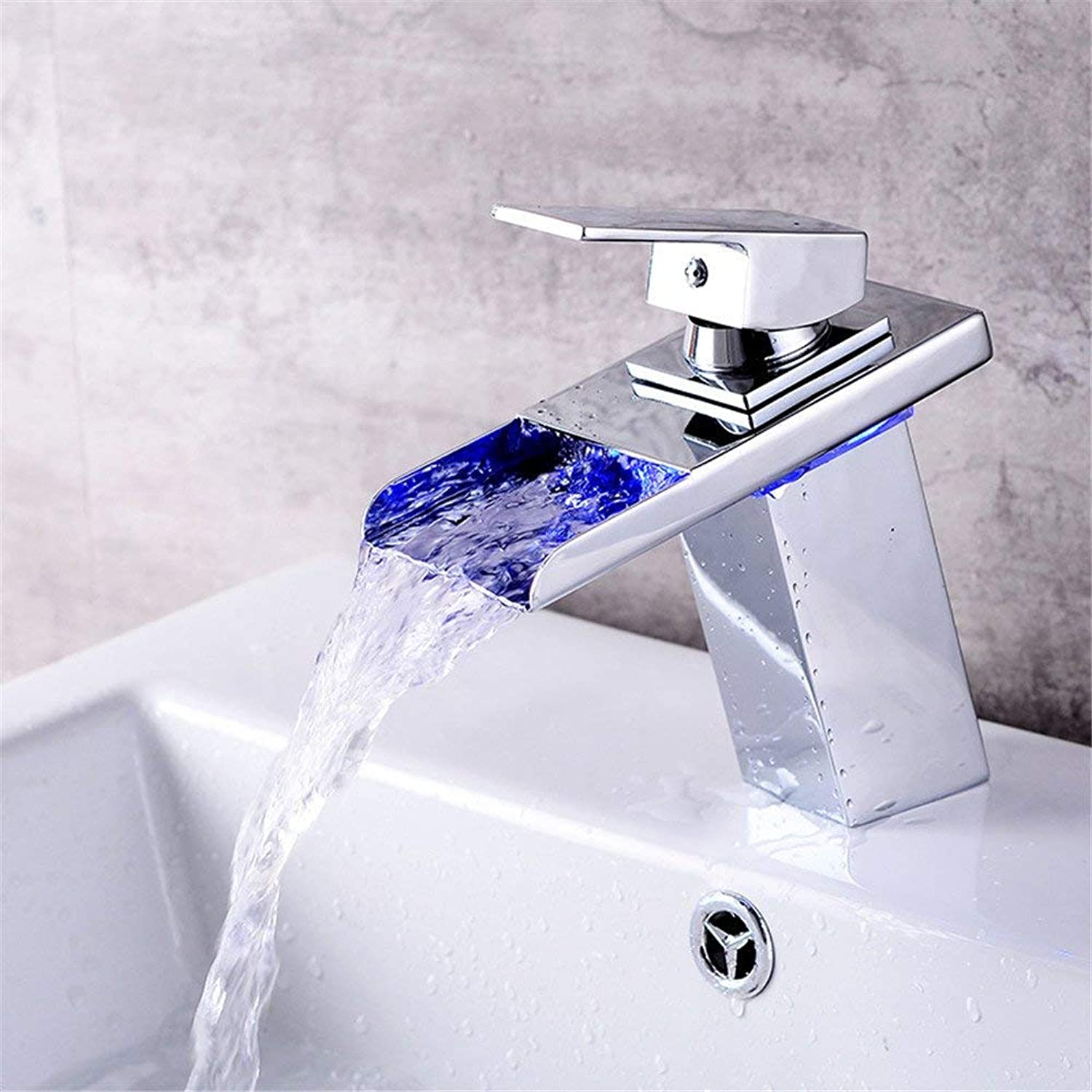 SEEKSUNG Bathroom Sink Taps Led color-Changing Faucet Wash Basin Mixer Full Copper Temperature Controlled color Change in The Bathroom Cabinet Ceramic Basin Waterfall Faucet Basin Mixer