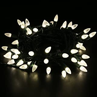 MAXINDA [UL Listed] Outdoor LED String Lights,17 feet 50 LEDs Mood Lighting Strands,Diamond Strawberry C3 Bulbs,Warm White Christmas Lights,for Patio Garden Holiday Wedding Decor