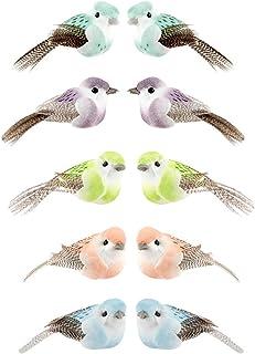 Lot de 10 oiseaux décoratifs à plumes - Oiseaux artificiels - 5cmx2,4cmx2,3cm - 5couleurs