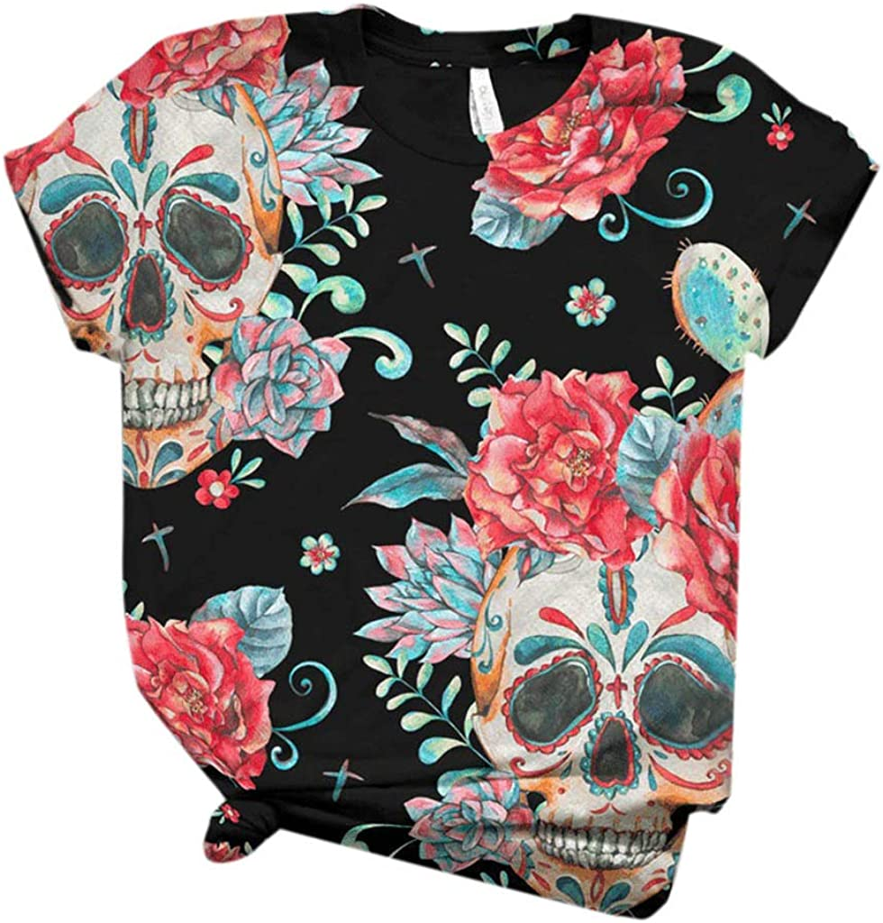 Tshirts for Women, Womens 3D Animal Print T Shirts Short Sleeve Comfy Tops Summer O Neck Tshirts Casual Blouses