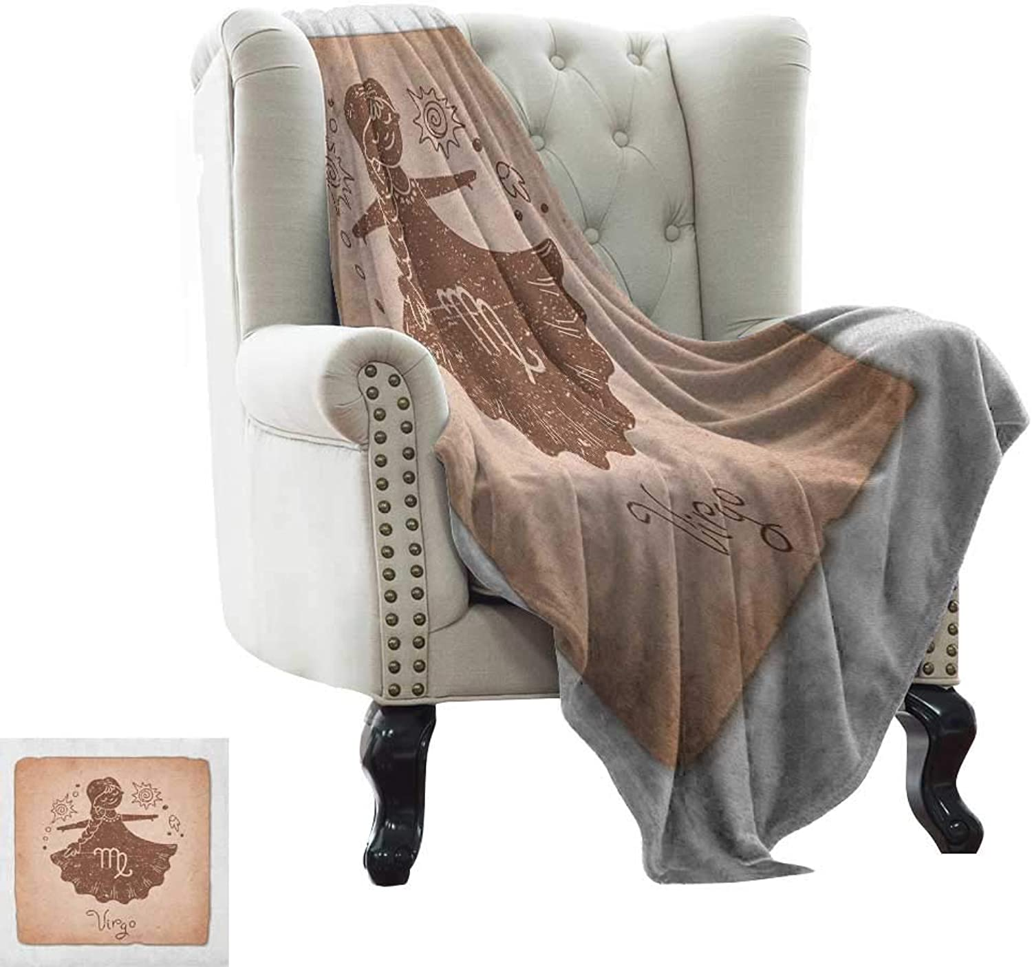 Warmfamily Virgo, Throw Blanket,Vintage Style Display with Little Girl in Dress Floral Sky Elements Astrology Image 60 x36 ,Super Soft and Comfortable,Suitable for Sofas,Chairs,beds