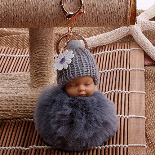 ARMAC Llavero de muñeca de imitación de piel de conejo con colgante de bola de adorno para coche (gris)