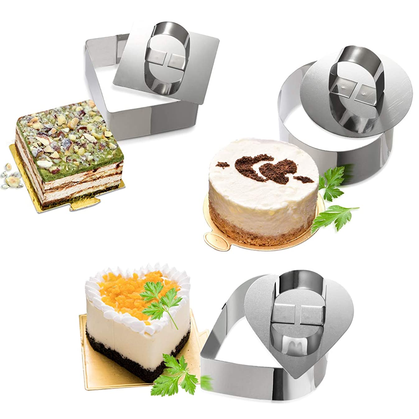 24 Pack Cake Molds Goowin Cake Rings Stainless Steel Food Pastry Dessert Ring with Pusher for Molding Layering Cake Cutting (12 Rings and 12 Ring Covers)