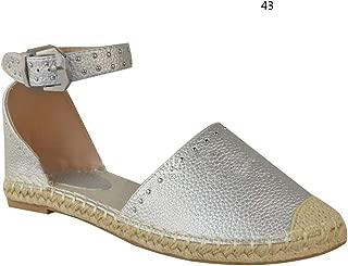 WoJip Women Flat Shoes Rivets Decor Soft Breathable Lightweight Shoes for Summer
